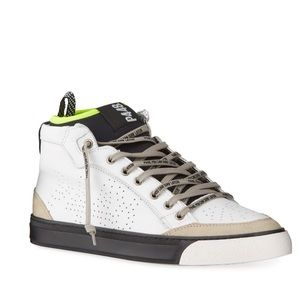 P448 color block mixed leather sneaker